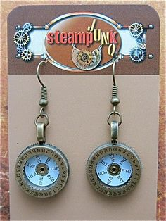 Steampunk Earrings - Day after day - Steampunk Jewelry - Repurposed art