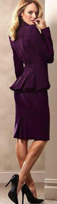 plum colored suit - women's fashion