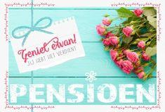 Pensioen kaart met roze rozen.