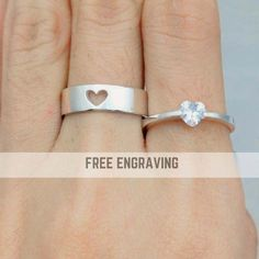 Couple Ring Set Promise Rings For Couples His And Her Silver Promise Rings, Promise Rings For Couples, Couple Rings, Silver Rings, Ring Set, Ring Verlobung, Rose Gold Engagement Ring, Diamond Wedding Rings, Solitaire Engagement