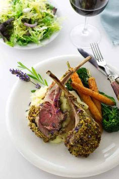This Lavender Pistachio Crusted Rack of Lamb is a special treat that calls for a special event dinner. It is a perfect choice for a holiday dinnersor a small, intimate gathering. #lambdinner #lambrecipes #holidaydinner #specialoccasionrecipe #savorhtebest Roast Rack Of Lamb, Crusted Rack Of Lamb, Slow Roast Lamb, Lamb Dinner, Wine Dinner, Dinner Menu, Lamb Recipes, Gourmet Recipes, Cooking Recipes