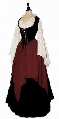 I-D-D Renaissance Medieval Peasant Wench Pirate Faire 3-Piece Costume