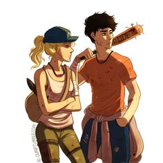 Green Converses art. Percy Jackson and Annabeth Chase zombie AU.