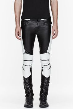 SAINT LAURENT Black & white ribbed zipped biker pants