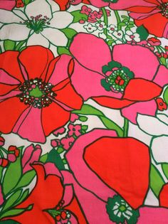 70s swedish vintage mod fabric in medium cotton weight. The fabric is in great condition. One of the most lovely fabrics I have! The pattern is