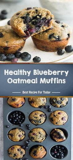 These Healthy Blueberry Oatmeal Muffins are perfect for on the go! Homemade Cake Recipes, Best Dessert Recipes, Fun Desserts, Sweet Recipes, Delicious Desserts, Bread Recipes, Easy Recipes, Healthy Recipes, Desert Recipes