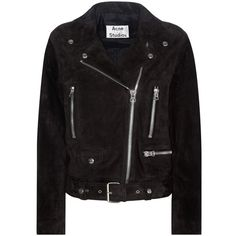 Acne Studios Mock Suede Jacket (10 785 SEK) ❤ liked on Polyvore featuring outerwear, jackets, coats, coats & jackets, biker jacket, black, suede moto jackets, acne studios, moto jackets and acne studios jacket