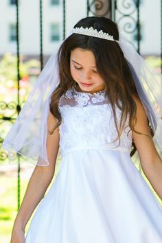 Crystal & Rhinestone Crown Tiara with White Tulle Veil First Holy Communion Veil (One Size Girls)