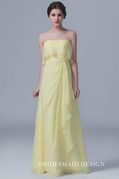 best=Ruffled Hemline Daffodil Chiffon Strapless Cute Long Bridesmaid Dress , There are delicate lace prom dresses with sleeves, dazzling sequin ball gowns, and opulently beaded mermaid dresses. Yellow Bridesmaid Dresses, Affordable Bridesmaid Dresses, Prom Dresses, Wedding Dresses, Bridesmaid Gowns, Chiffon Dresses, Empire, Gowns Online, Ruffle Dress