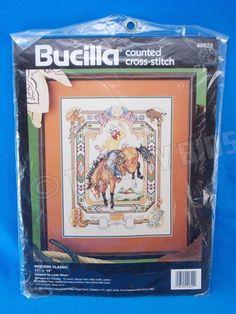 1992 Bucilla Counted X Cross Stitch Western Classic Cowboy Bucking Horse 40629 #Bucilla #Frame