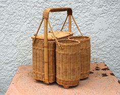 Vintage Wicker Picnic Basket With Two Wine Bottle Holders Bottles