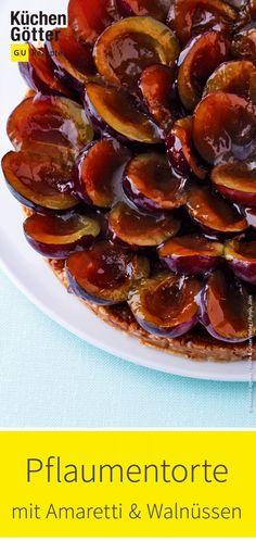Plum pie with amaretti and walnuts - Pflaumenkuchen - Unsere besten Rezepte - Best Tart Recipes Tart Recipes, Quick Recipes, Low Carb Recipes, No Bake Desserts, Vegan Desserts, Dessert Recipes, Chocolate Muffins, Chocolate Cookies, Flan