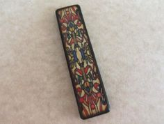 Vintage Stained Glass Red Blue Gold floral Panel JLynn Mini MatchStick ART wood double sided rectangle Tile Charm Pendant