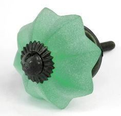 Green Frosted Glass Melon Cabinet Knobs