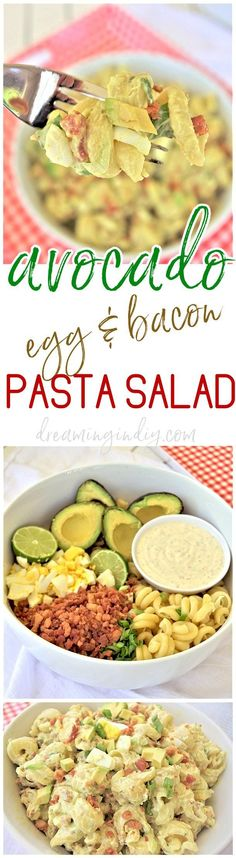 Avocado Egg and Bacon Pasta Salad Side Dish Recipe from Dreaming in DIY - This is the perfect easy and delicious pasta salad side dish. Bring it to 4th of July holiday celebrations, summer cookouts, fall tailgating lunch spreads, potlucks and backyard dinner parties! It tastes amazing immediately and even better after a few hours in the fridge!