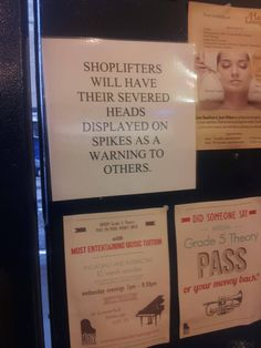 warning to shoplifters sign