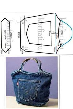 Bolso hecho con tela de jeans.muy practico tutorial.   Stel:-)