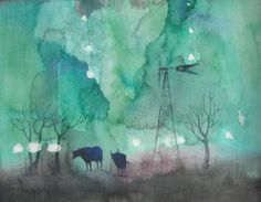 """Cows Outside of Town"" watercolor by Geoffrey Benzing"