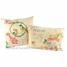 """It is truly lovely how these 2 pillows spell """"Rose Dream""""together! 2Pcs Vintage Pink Rose Garden Bird Decorative Lumbar Pillow Case Cushion Covers"""