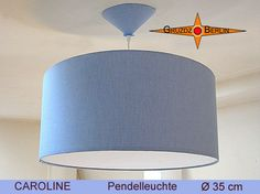 Lamp CAROLINE Ø 35 cm with canopy and diffuser blue linen