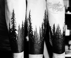 I'm now pretty obsessed with the notion of a forest half-sleeve. Pine trees tattoo by Miguel Angel tattoo, via Flickr