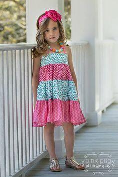 Girls Tiered Twirly Dress Sewing Pattern by littlelizardking