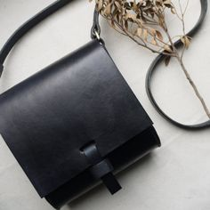 Small cross body leather bag, black purse, miniature satchel, small messenger bag, black cross body pouch, Hand sewn bag.  Made in UK