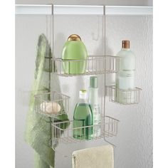 InterDesign Metalo Over-Door Shower Caddy, Hanging Bathroom Shelves with 4 Storage Baskets, Made of Metal, Matte Silver Shower Over Bath, Bathtub Shower, Shower Doors, Shower Gel, Bath Towel Racks, Bath Towels, Corner Shower Caddy, Bathtub Accessories, Shampoo Bottles