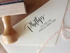 Calligraphy Return Address Stamp Mixed by AngeliqueInk on Etsy