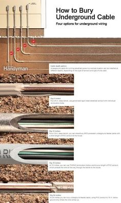 How to Bury Underground Cable - backyard - Home Electrical Wiring, Electrical Projects, Electrical Shop, Residential Electrical, Electrical Outlets, Electrical Engineering, Outdoor Projects, Home Projects, House Wiring