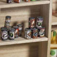 Miniature Country Store Grocery Cans - Kitchen Miniatures - Dollhouse Miniatures - Doll Making Supplies - Craft Supplies
