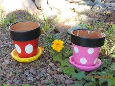 DIY Mickey and Minnie Mouse flower pots