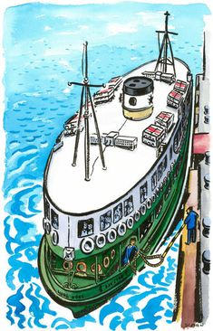 """""""The Star Ferry, Hong Kong."""" Painting by Michael Sloan posters, art prints, canvas prints, greeting cards or gallery prints. Find more Painting art prints and posters in the ARTFLAKES shop. Hong Kong Art, Star Ferry, China Architecture, Dancing Drawings, Traditional Tattoo Art, Building Painting, Building Sketch, Amazing Street Art, Urban Sketching"""