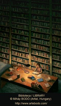 Biblioteca / LIBRARY © Miháy BODÓ (Artist, Hungary). Woman alone in library at night. [Do not remove. Caption required by law.] COPYRIGHT LAW: http://pinterest.com/pin/86975836525792650/  PINTEREST on COPYRIGHT:  http://pinterest.com/pin/86975836526856889/ The Golden Rule: http://www.pinterest.com/pin/86975836527744374/  Food for Thought: http://www.pinterest.com/pin/86975836527810134/  Promote blogs here in the caption. Ethics & integrity - not just vocabulary words.