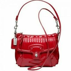 Red Coach Poppy Glossy Mini Groovy crossbody bag Brand new and still in dustbag. Took tag off (pic 2) but never carried. Super cute to carry year round! Coach Bags Crossbody Bags