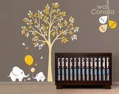 Baby Nursery Wall Decals - Tree Wall Decal - Elephant Decal - via Etsy.