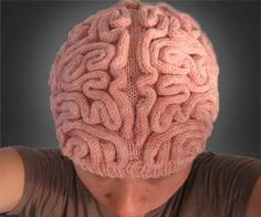 Knitted brain hat -- so awesome!