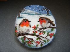 Handmade needle felted brooch 'The Robins and the First Snow' by Tracey Dunn