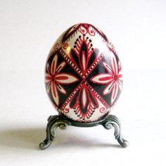 Red and Black Flower on white chicken egg by UkrainianEasterEggs