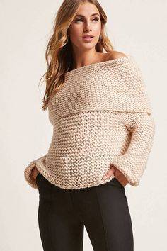 FOREVER 21 Marled Honeycomb Knit Off-the-Shoulder Sweater
