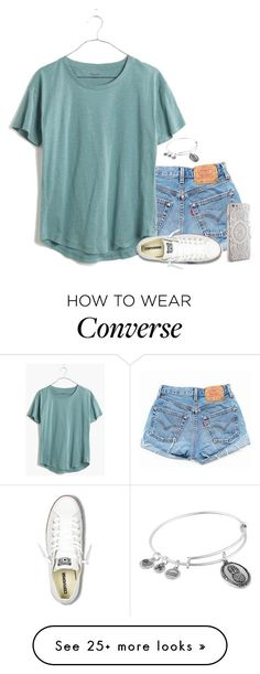 """❣"" by leighannalane on Polyvore featuring Levi's, Madewell, Converse, Alex and Ani and Nanette Lepore"