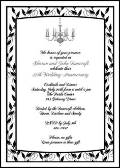 5th Wedding Anniversary, Wedding Anniversary Invitations, Anniversary Parties, Invitation Design, Invitation Cards, Invitation Wording, Invites, 50th Party, Silver Chandelier