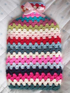 Sincerely, Hooked: Hot Water Bottle Cover Crochet Bebe, Crochet Hooks, Knit Crochet, Crochet Things, Bottle Cover, Crochet Kitchen, Needle And Thread, Knitted Hats, Crochet Tutorials
