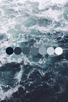 Exhibiting a natural spectrum of color found within one entity, this photograph of ocean water shows the hue of blueish-gray and its various intensities/luminance.                                                                                                                                                     More