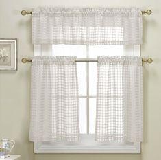 Polycotton Star Cut Out Kitchen Curtain Drape Tier & Valance Swag Set - Brown #DESIGNERLINENS #Contemporary