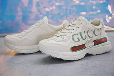 dcfe2ab0961 Where To Buy Replica Gucci Unisex Rhyton Gucci Logo Leather Sneaker 500877  Cream For Sale