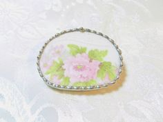 Broken China Brooch Pink Floral by TreasuresAnew on Etsy