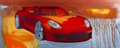 """Porsche GT1"", 2014 lacquer on polymer painting by Rand Heidinger (24x60 in)  for the March 2014 Exhibition in conjunction with Porsche Winnipeg 660 Pembina Hwy."