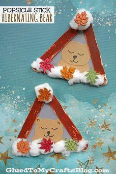 Popsicle Stick Hibernating Bear - Kid Craft For Winter - Winter Kids Crafts and Activities Kids Crafts, Animal Crafts For Kids, Daycare Crafts, Winter Crafts For Kids, Winter Kids, Cute Crafts, Craft Stick Crafts, Toddler Crafts, Winter Crafts For Preschoolers
