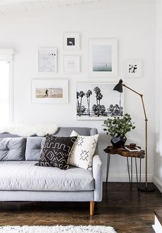 Grey and white minimalist living room or family room